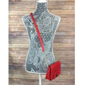 Red Crossbody bag with gold bow